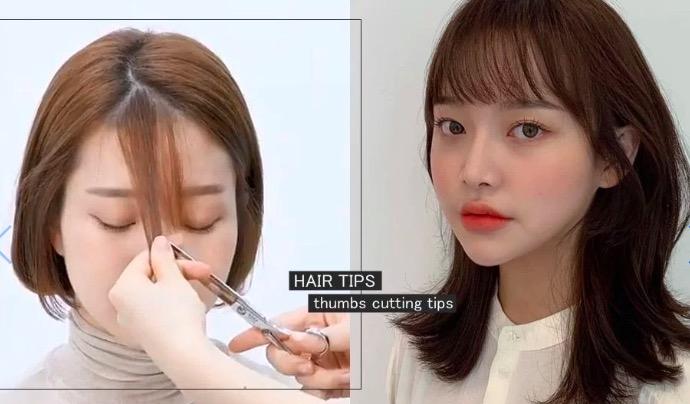 韓國髮型師超簡單「拇指剪」瀏海技巧!空氣、八字瀏海通通可以自己剪,剪成這個形狀絕不失手